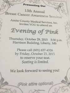 Amite County Medical Services- Breast Cancer Awareness Seminar